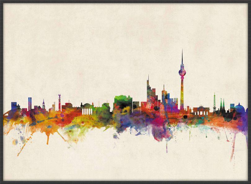 Large Berlin City Skyline (Wood Frame - Black)