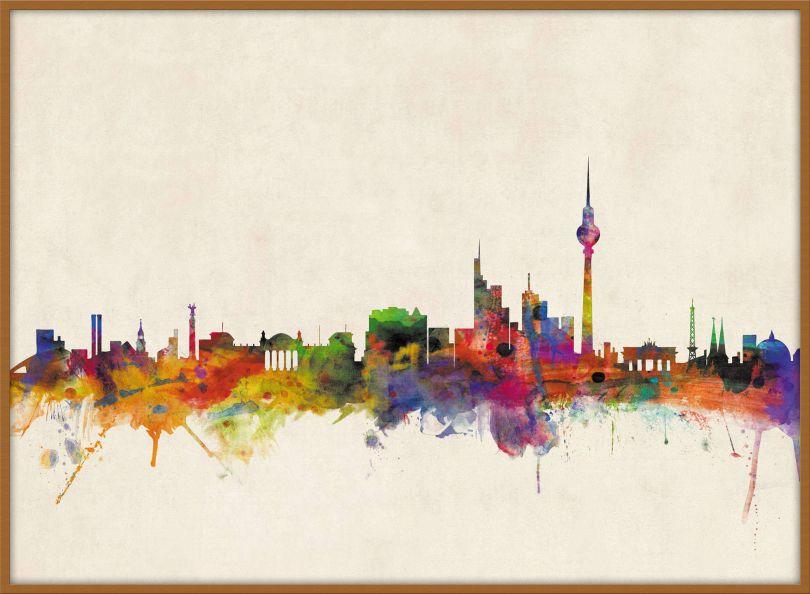 Large Berlin City Skyline (Pinboard & wood frame - Teak)