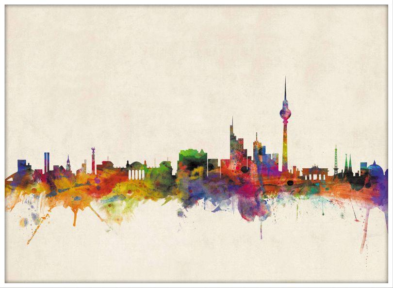 Large Berlin City Skyline (Wood Frame - White)