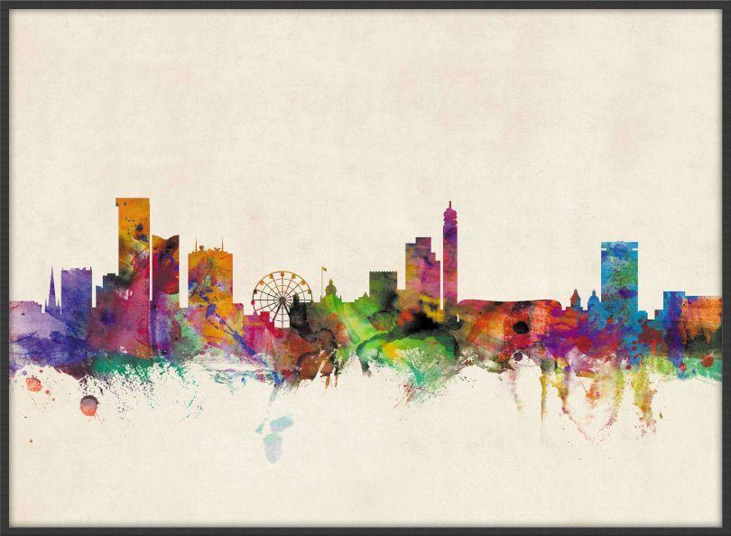 Large Birmingham City Skyline (Pinboard & wood frame - Black)