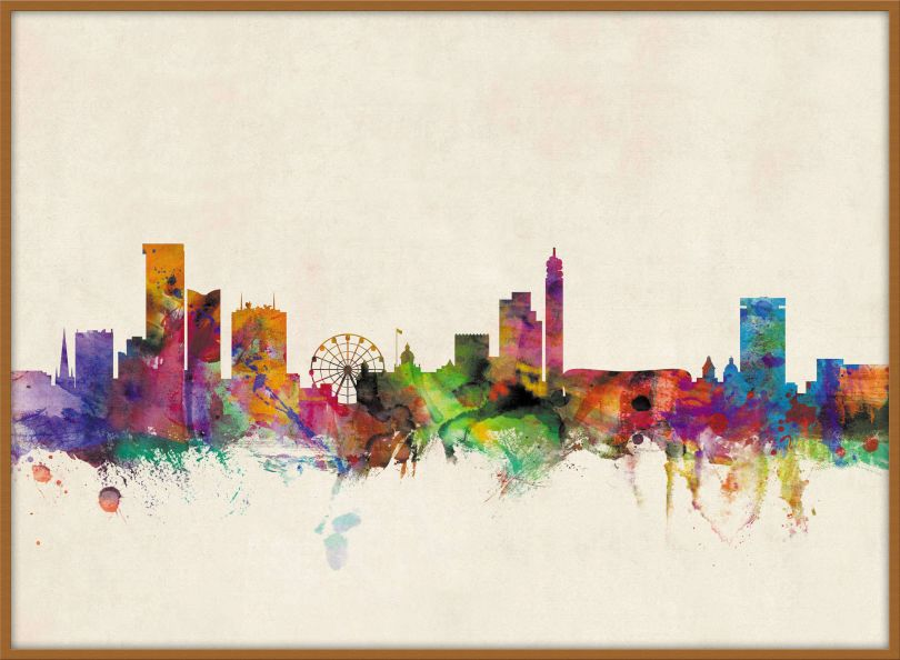 Large Birmingham City Skyline (Wood Frame - Teak)