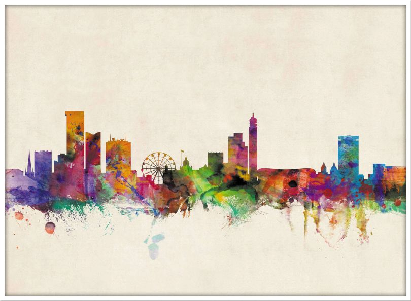Large Birmingham City Skyline (Pinboard & wood frame - White)