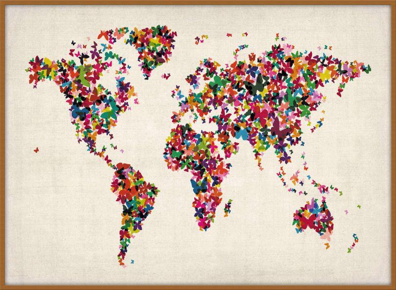 Large Butterflies Map of the World (Wood Frame - Teak)