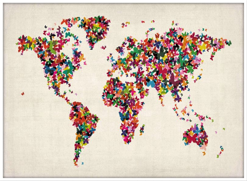 Large Butterflies Map of the World (Pinboard & wood frame - White)