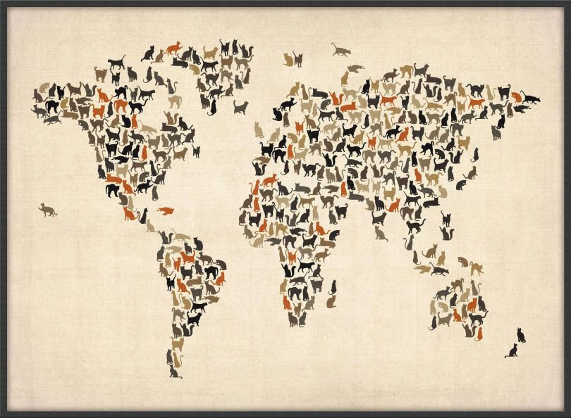 Large Cats Map of the World (Wood Frame - Black)