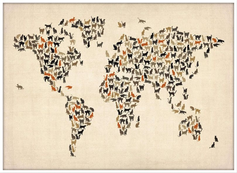Large Cats Map of the World (Wood Frame - White)
