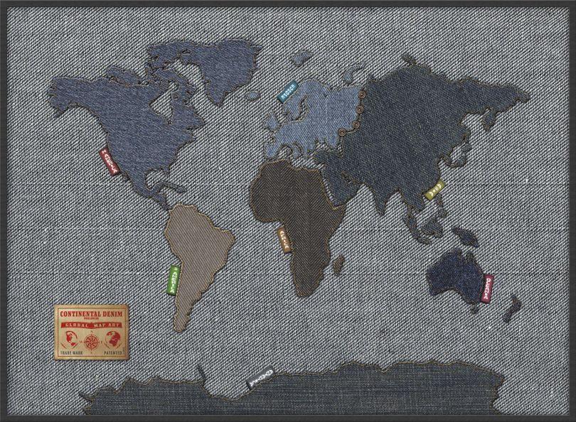 Large Denim Map of the World (Pinboard & wood frame - Black)