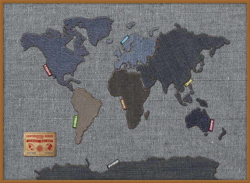Large Denim Map of the World (Wood Frame - Teak)