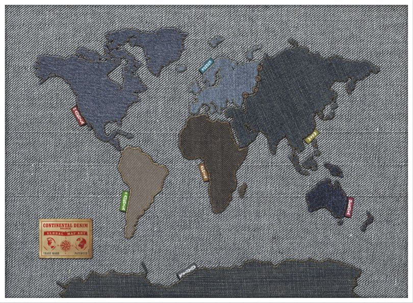 Large Denim Map of the World (Pinboard & wood frame - White)