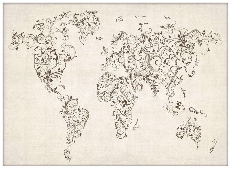 Large Floral Swirls Map of the World (Wood Frame - White)