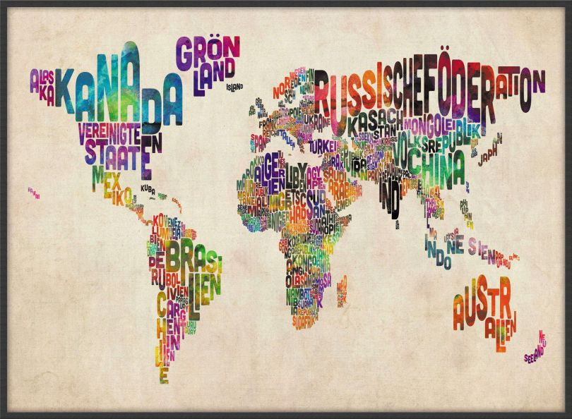 Large German Text Art Map of the World (Pinboard & wood frame - Black)