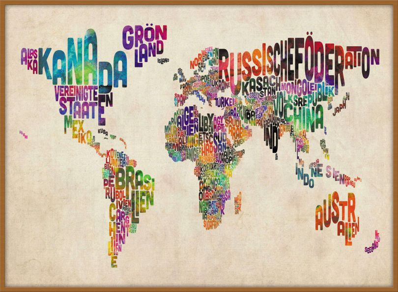 Large German Text Art Map of the World (Pinboard & wood frame - Teak)