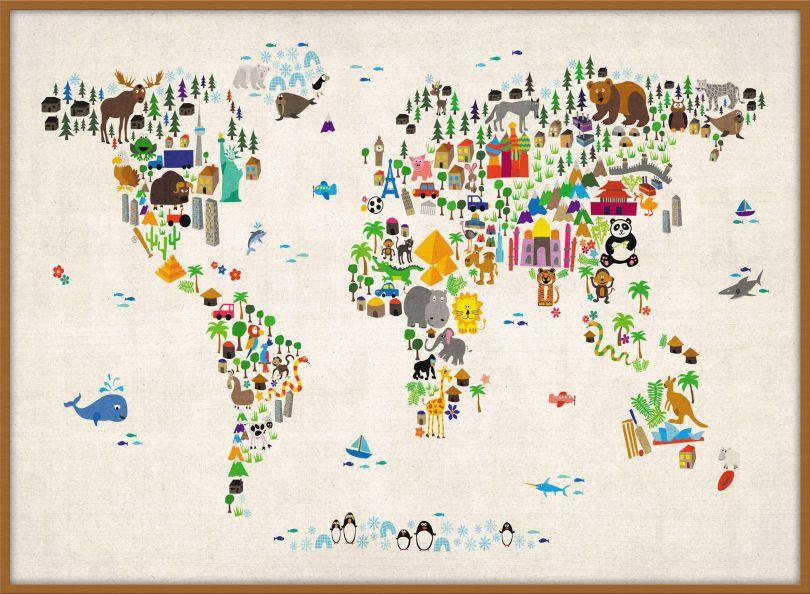 Large Kids Animal Map of the World (Pinboard & wood frame - Teak)