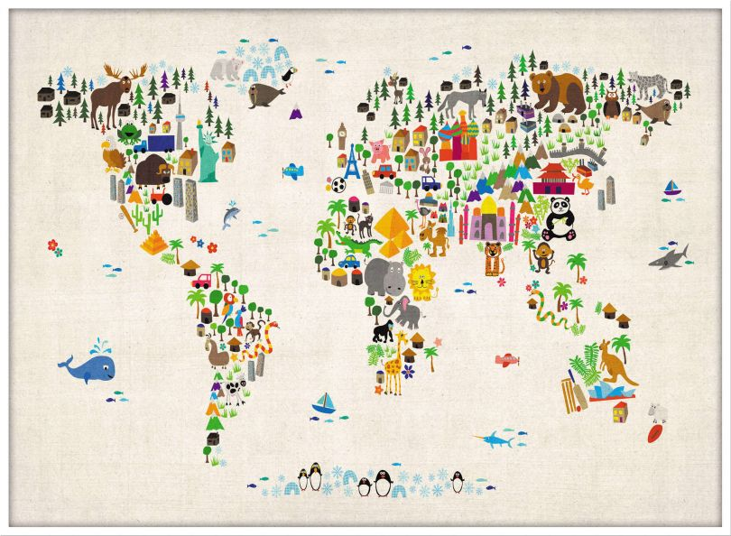 Large Kids Animal Map of the World (Pinboard & wood frame - White)