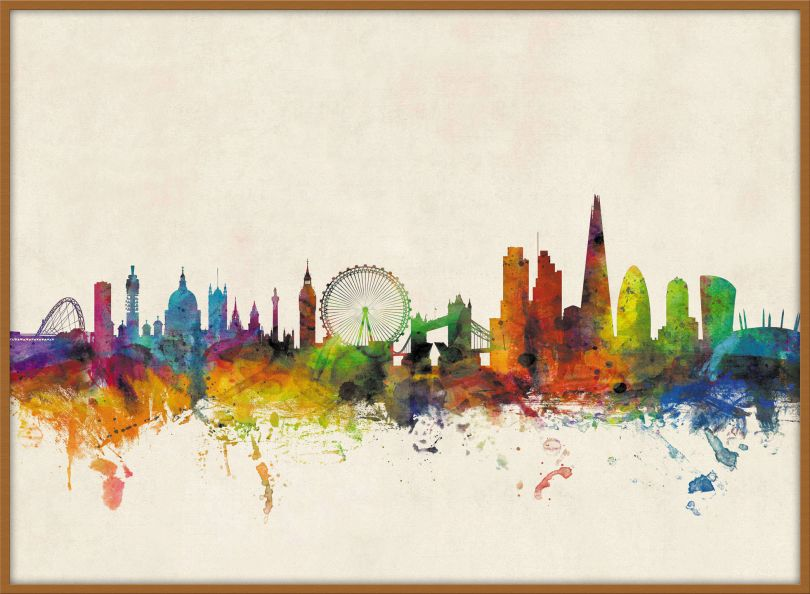Large London City Skyline (Pinboard & wood frame - Teak)