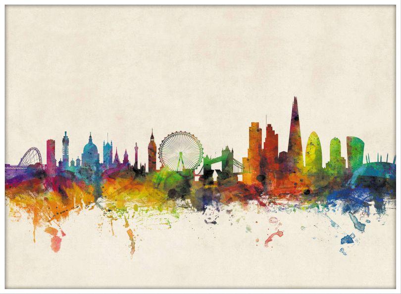 Large London City Skyline (Wood Frame - White)