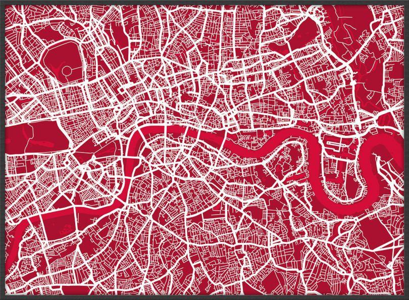 Large London Street Art Map (Pinboard & wood frame - Black)