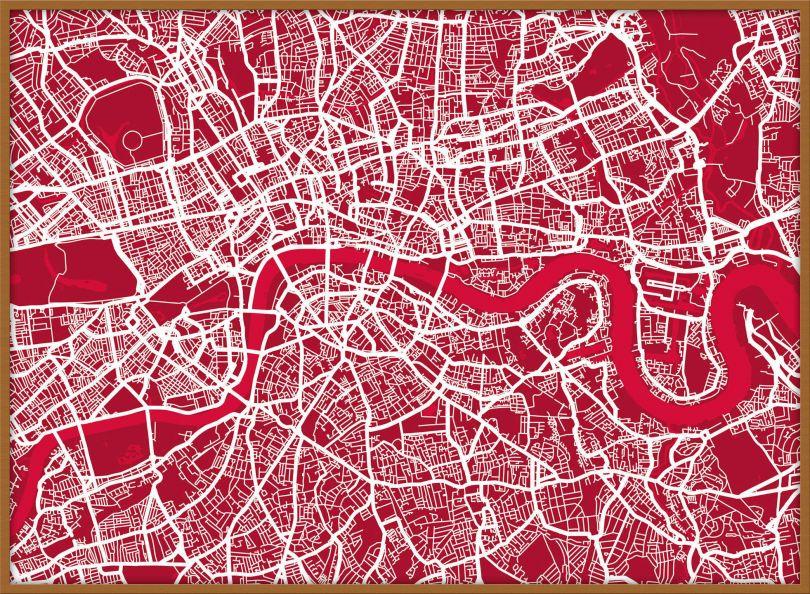 Large London Street Art Map (Pinboard & wood frame - Teak)