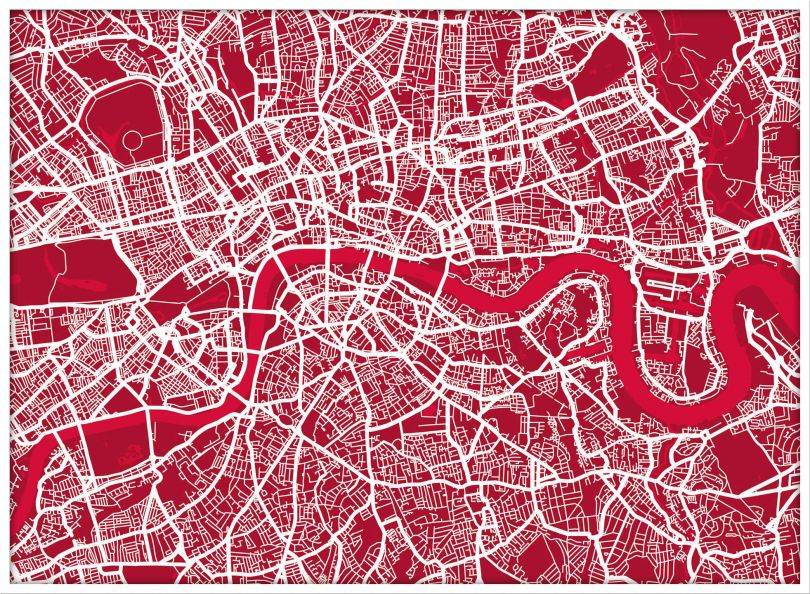 Large London Street Art Map (Pinboard & wood frame - White)