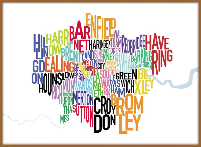 Large London UK Text Map (Wood Frame - Teak)