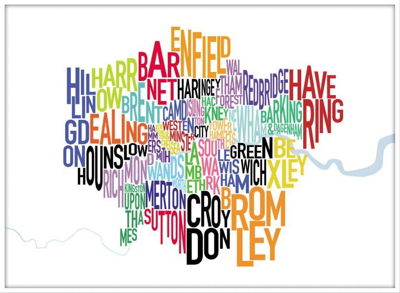 Large London UK Text Map (Pinboard & wood frame - White)