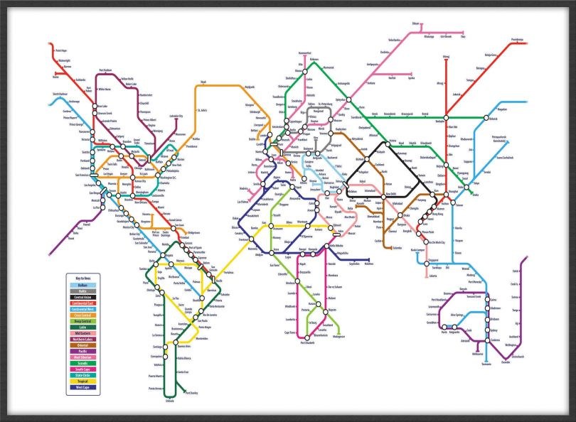 Large Metro Subway Map of the World  (Wood Frame - Black)