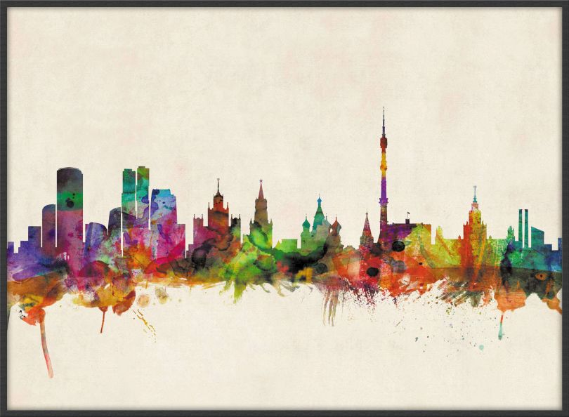 Large Moscow City Skyline (Wood Frame - Black)
