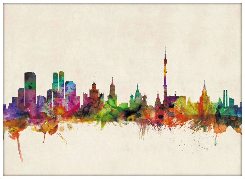Large Moscow City Skyline (Wood Frame - White)