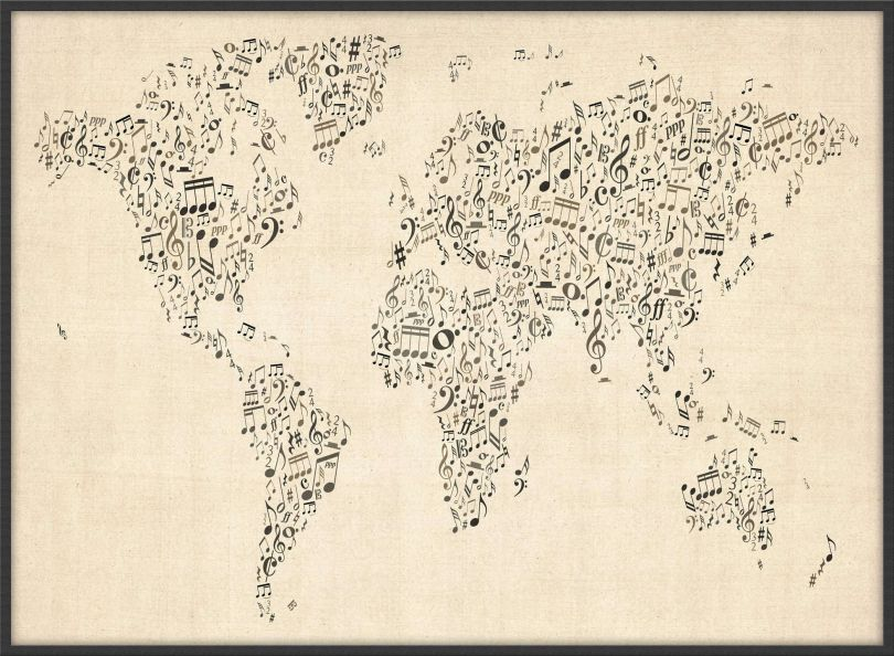 Large Music Notes World Map of the World (Pinboard & wood frame - Black)