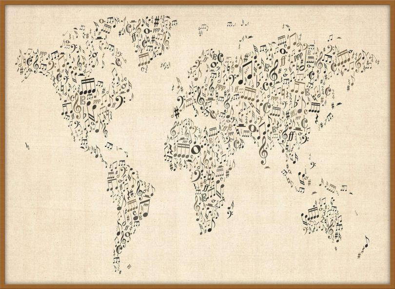 Large Music Notes World Map of the World (Wood Frame - Teak)