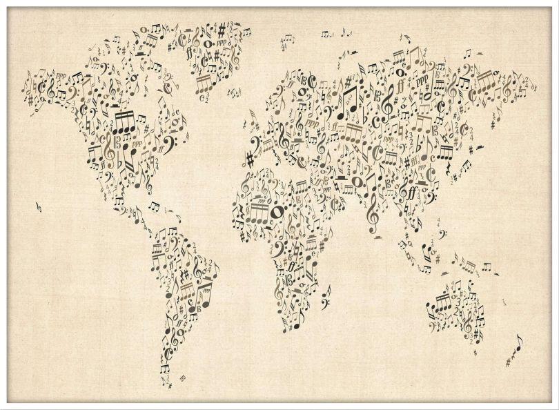Large Music Notes World Map of the World (Wood Frame - White)