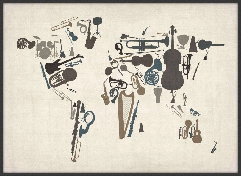 Large Musical Instruments Map of the World  (Pinboard & wood frame - Black)
