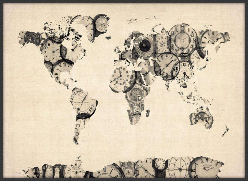 Large Old Clocks Map of the World (Wood Frame - Black)