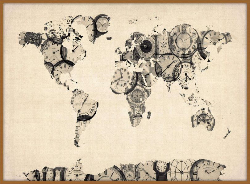 Large Old Clocks Map of the World (Pinboard & wood frame - Teak)