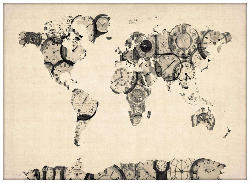 Large Old Clocks Map of the World (Pinboard & wood frame - White)