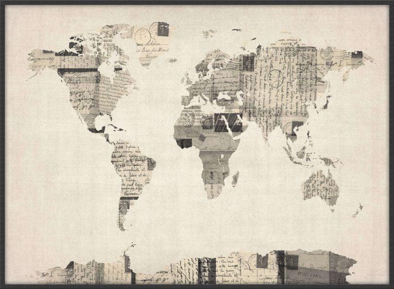 Large Old Postcards Art Map of the World (Wood Frame - Black)