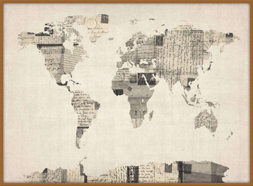 Large Old Postcards Art Map of the World (Wood Frame - Teak)