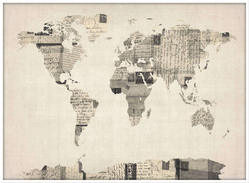 Large Old Postcards Art Map of the World (Wood Frame - White)