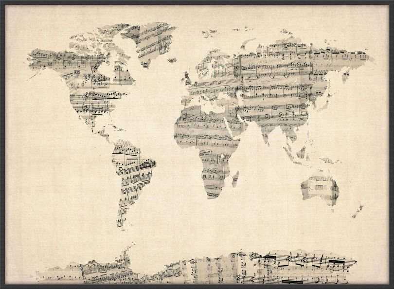 Large Old Sheet Music Map of the World (Pinboard & wood frame - Black)