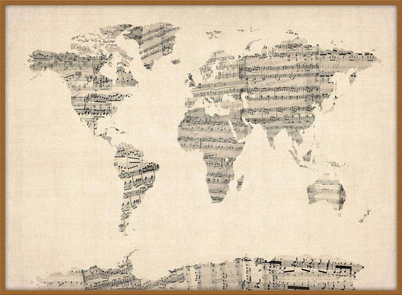 Large Old Sheet Music Map of the World (Wood Frame - Teak)