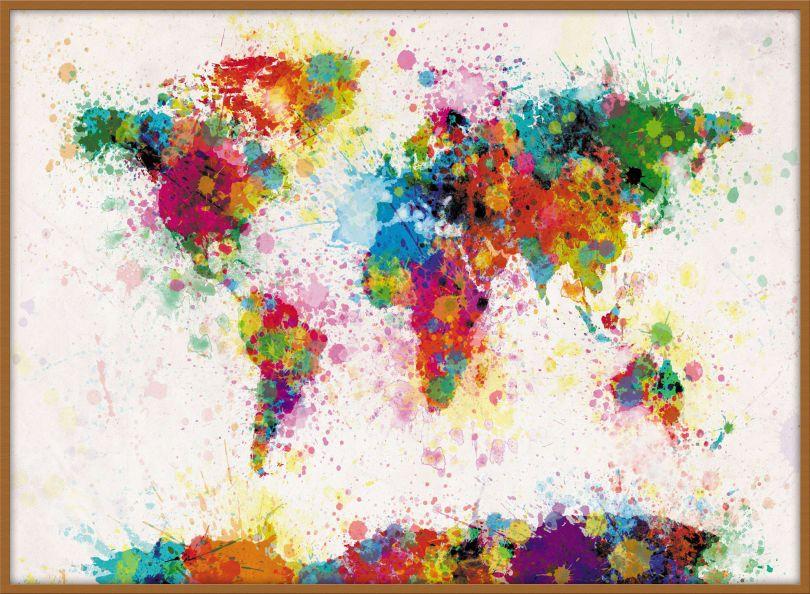 Large Paint Splashes Map of the World (Pinboard & wood frame - Teak)