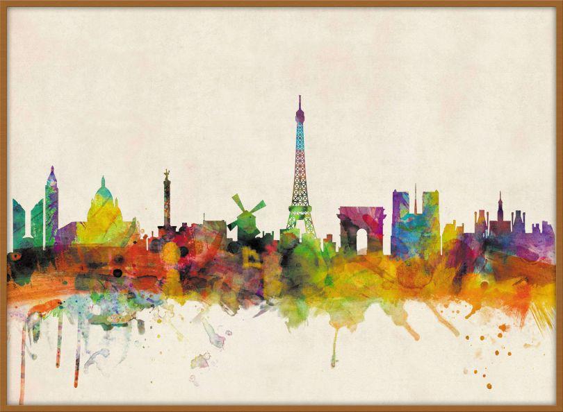 Large Paris City Skyline (Wood Frame - Teak)