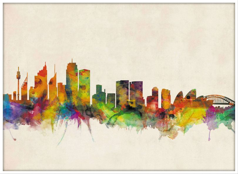 Large Sydney City Skyline (Pinboard & wood frame - White)