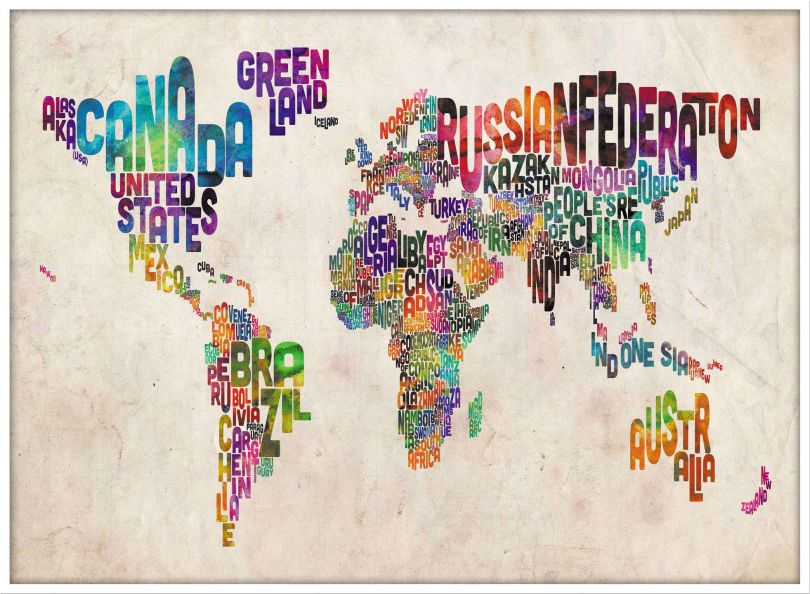 Large Text Art Map of the World (Pinboard & wood frame - White)