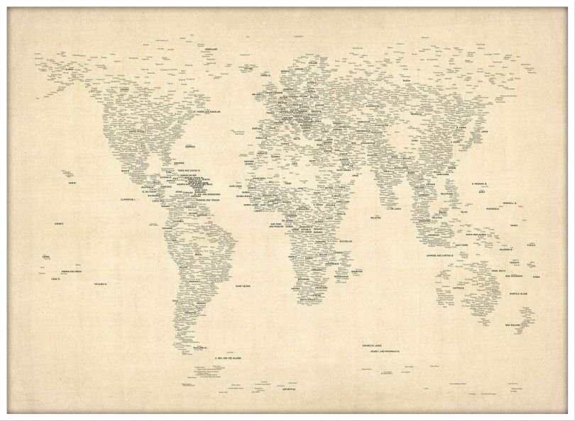 Large Typography World Map of Cities (Pinboard & wood frame - White)