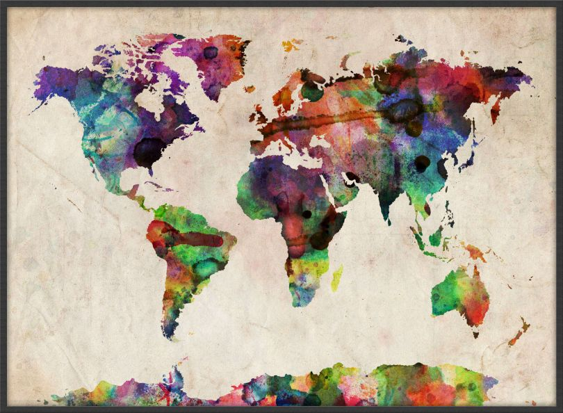 Large Urban Watercolor Map of the World (Pinboard & wood frame - Black)