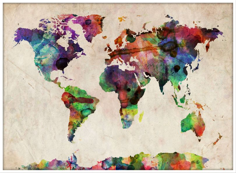 Large Urban Watercolor Map of the World (Pinboard & wood frame - White)