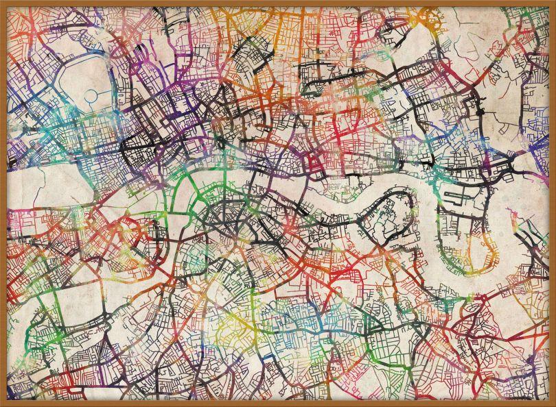 Large Watercolour Map of London (Wood Frame - Teak)