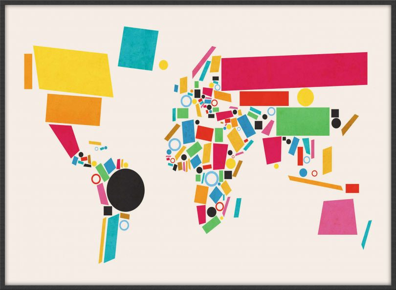 Large World Map Abstract  (Wood Frame - Black)