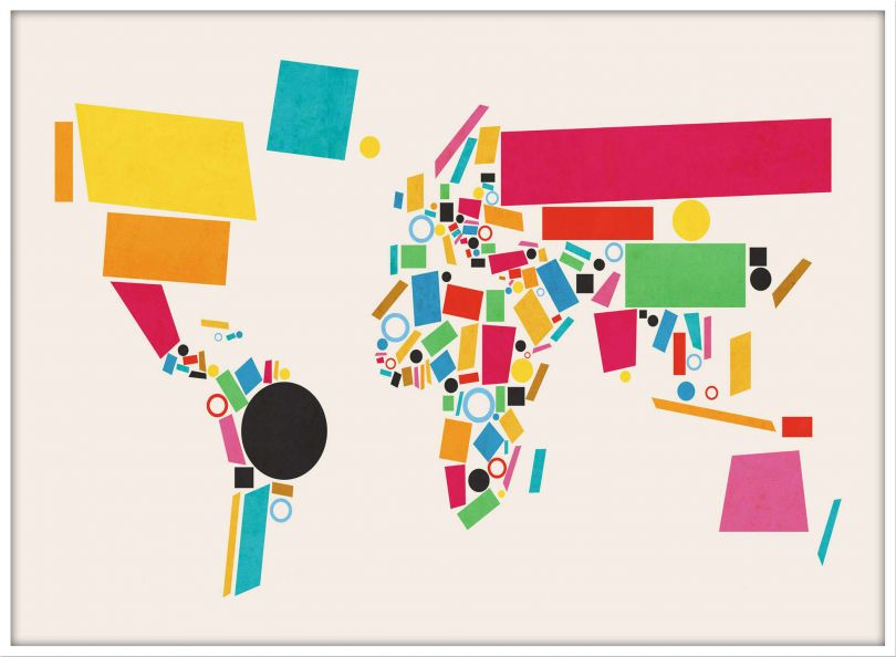 Large World Map Abstract  (Pinboard & wood frame - White)